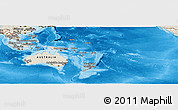 Shaded Relief Panoramic Map of Australia and Oceania