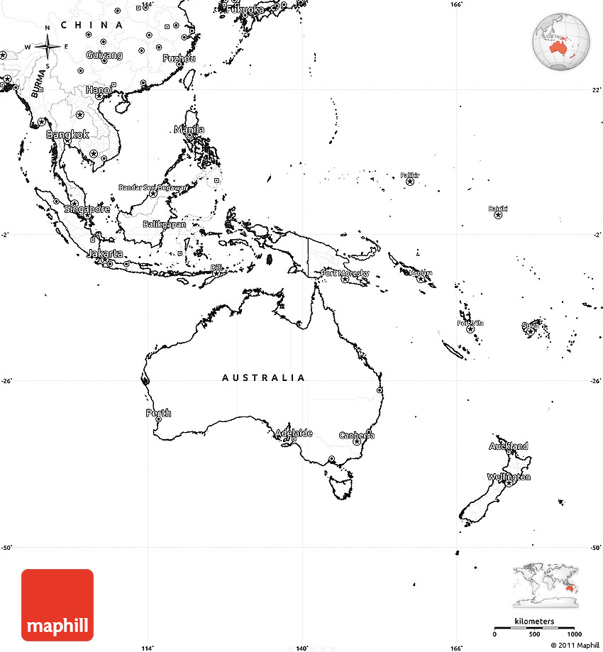 Blank Map Australia And Oceania