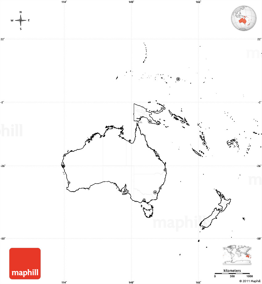 Blank Simple Map of Australia and Oceania cropped outside no labels – Empty Map of Australia