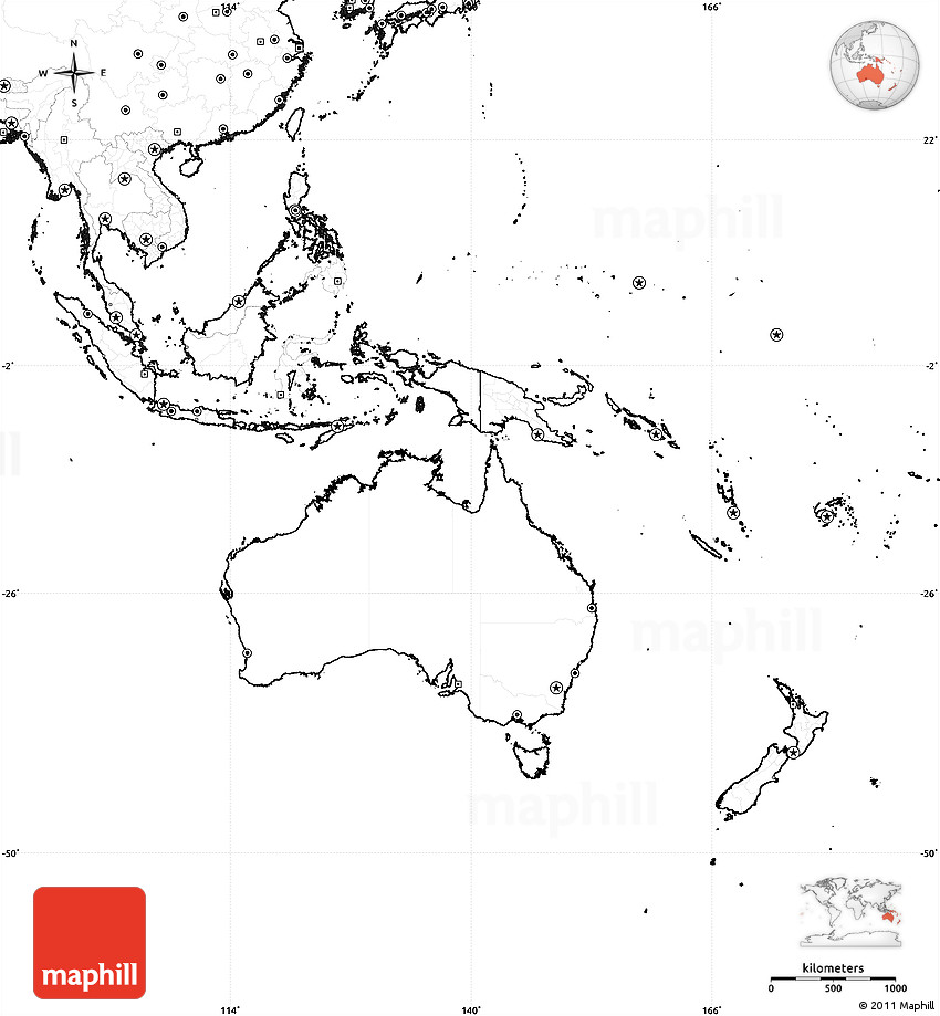 Blank Simple Map Of Australia And Oceania No Labels - Blank map of continents to label