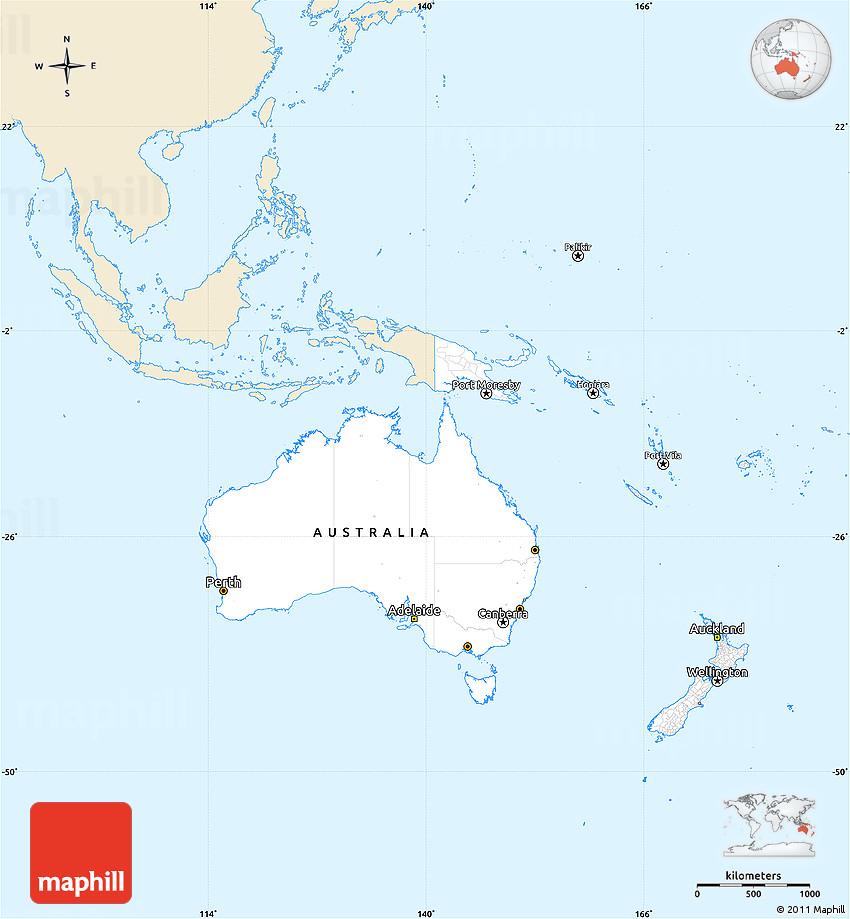 Australia Oceania: Classic Style Simple Map Of Australia And Oceania, Single