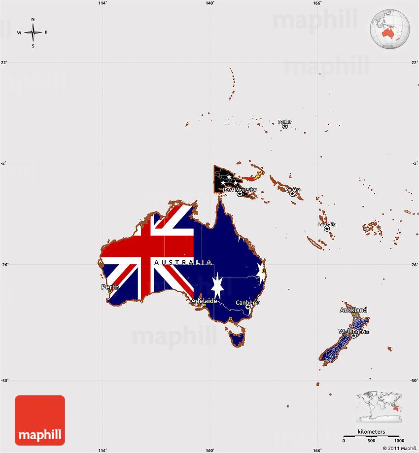 Australia Map With Flag.Flag Simple Map Of Australia And Oceania