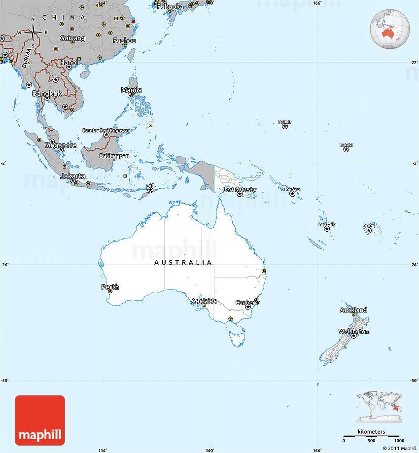Gray Simple Map of Australia and Oceania