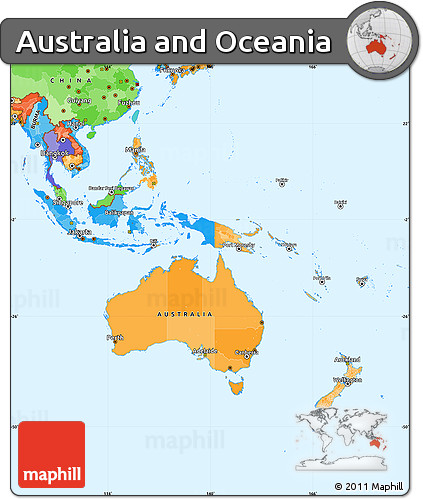 Free Political Simple Map of Australia and Oceania