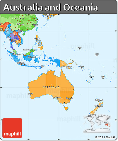 Free Political Simple Map Of Australia And Oceania - Political map of oceania