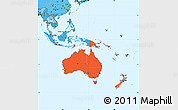 Political Shades Simple Map of Australia and Oceania
