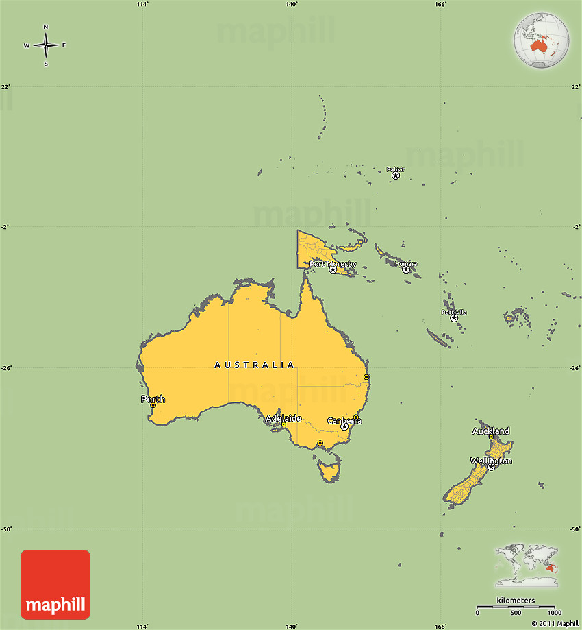 Australia Oceania: Savanna Style Simple Map Of Australia And Oceania, Cropped