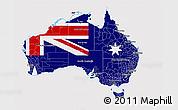 Flag 3D Map of Australia, flag centered