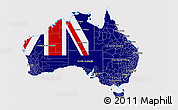 Flag 3D Map of Australia, flag aligned to the middle