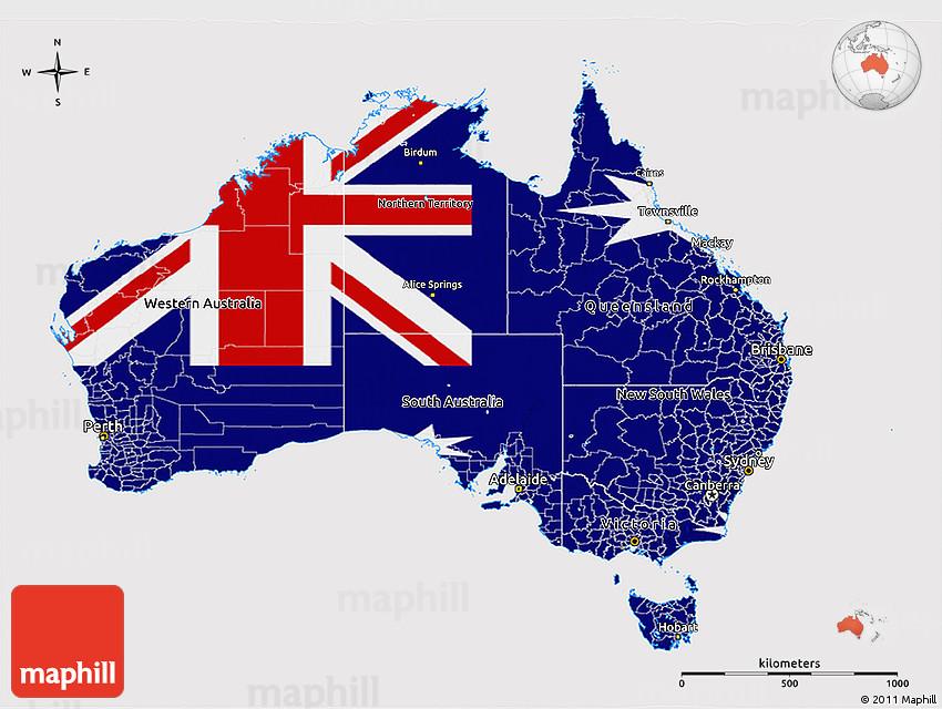 Australia Map And Flag.Flag 3d Map Of Australia Flag Rotated