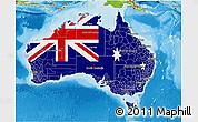 Flag 3D Map of Australia, physical outside