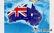 Flag 3D Map of Australia, political shades outside