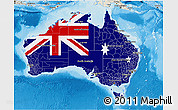Flag 3D Map of Australia, shaded relief outside