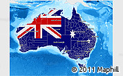 Flag 3D Map of Australia, single color outside, bathymetry sea