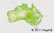 Physical 3D Map of Australia, cropped outside