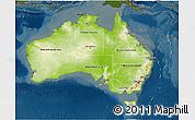 Physical 3D Map of Australia, darken