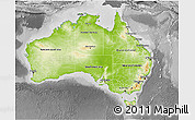 Physical 3D Map of Australia, desaturated
