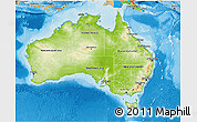 Physical 3D Map of Australia, political outside, shaded relief sea