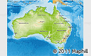 Physical 3D Map of Australia, political shades outside, shaded relief sea