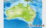 Physical 3D Map of Australia, satellite outside, shaded relief sea