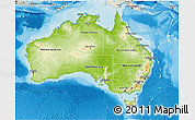 Physical 3D Map of Australia, shaded relief outside
