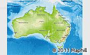 Physical 3D Map of Australia, single color outside