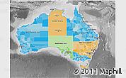 Political 3D Map of Australia, desaturated