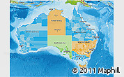 Political 3D Map of Australia, physical outside