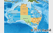 Political 3D Map of Australia, satellite outside, bathymetry sea