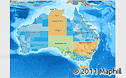 Political 3D Map of Australia, semi-desaturated, land only