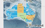 Political 3D Map of Australia, semi-desaturated