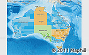 Political 3D Map of Australia, shaded relief outside, bathymetry sea