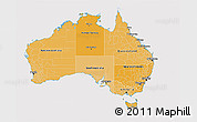Political Shades 3D Map of Australia, cropped outside