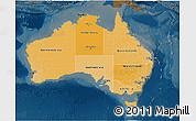 Political Shades 3D Map of Australia, darken