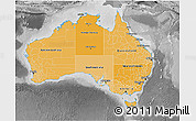 Political Shades 3D Map of Australia, desaturated