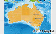 Political Shades 3D Map of Australia, physical outside