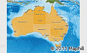 Political Shades 3D Map of Australia, satellite outside, bathymetry sea