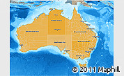 Political Shades 3D Map of Australia, semi-desaturated, land only