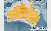 Political Shades 3D Map of Australia, semi-desaturated