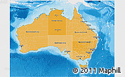 Political Shades 3D Map of Australia, single color outside