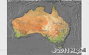 Satellite 3D Map of Australia, desaturated