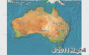 Satellite 3D Map of Australia, shaded relief outside, satellite sea