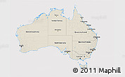 Shaded Relief 3D Map of Australia, cropped outside