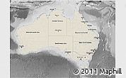 Shaded Relief 3D Map of Australia, desaturated