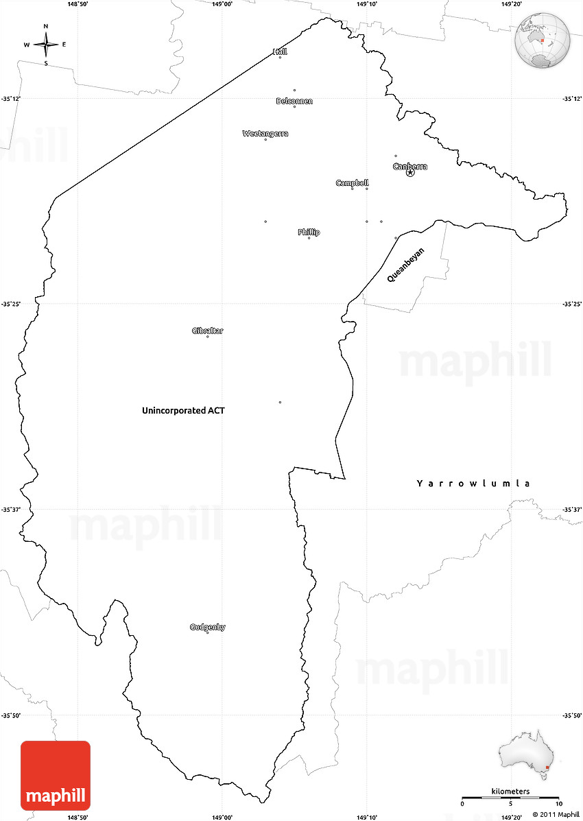 Blank Simple Map of Australian Capital Territory – Empty Map of Australia