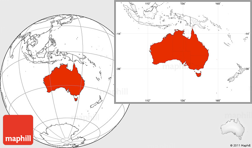 Blank Location Map of Australia
