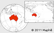 Blank Location Map of Australia, within the entire continent