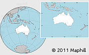 Blank Location Map of Australia, gray outside