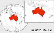 Blank Location Map of Australia, highlighted continent