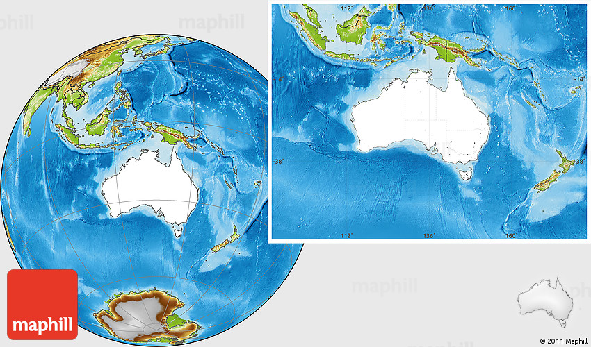 Blank Location Map of Australia physical outside